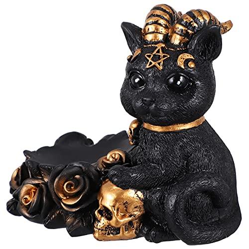 Homoyoyo Vintage Gato Escultura Resina Bola de Cristal Base Steampunk Halloween Cráneo Bruja Gato Estatua Figurita para Casa Embrujada Halloween Fiesta Mesa Decoración