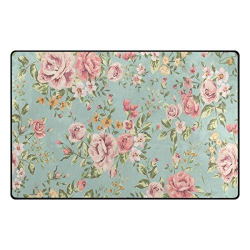 Mnsruu Tapis de sol antidérapant style shabby chic avec motif floral pour salon, chambre à coucher, 50 x 80 cm