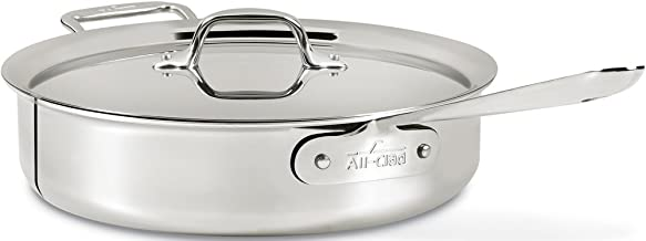 All-Clad 4406 Stainless Steel 3-Ply Bonded Dishwasher Safe Saute Pan with Lid Cookware, 6-Quart, Silver