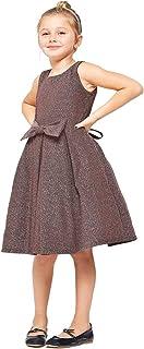 iGirlDress Girls Metal Glitter Knit Pleats Skirt Easter Holiday Christmas Dress 4-16