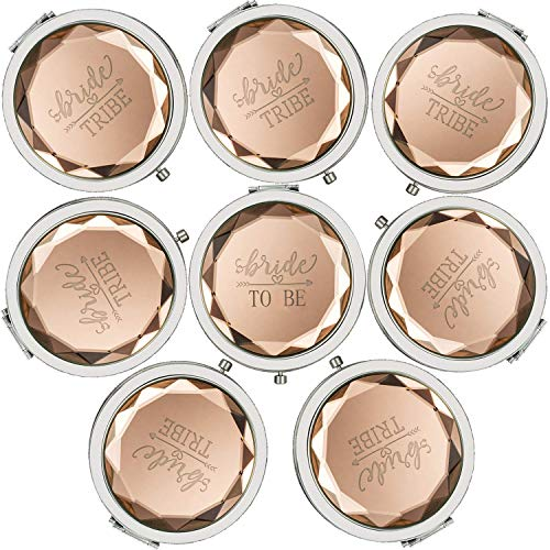 Cuterui Bridesmaid Gifts Bride Tribe Compact Makeup Mirrors for Bachelorette Bridal Shower...