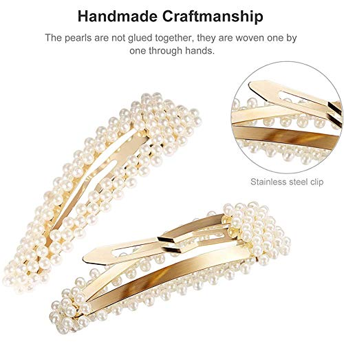 10 Pieces Pearl Hair Clips Artificial Pearl Hair Barrettes Elegant Gold Hairpins for Women and Girls Bridal Hair Decoration (10pcs)