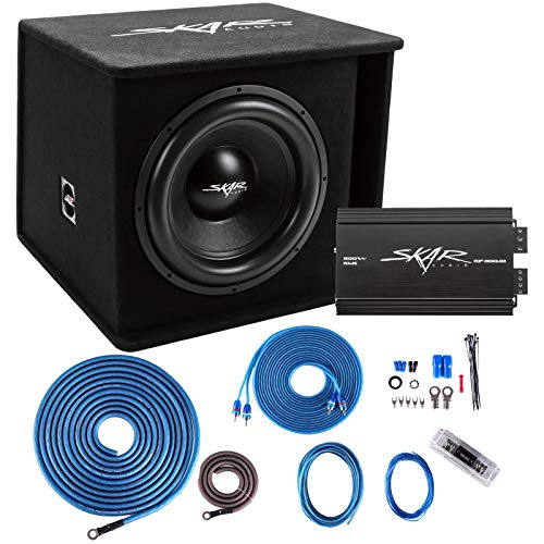 """Skar Audio Single 15"""" Complete 1,200 Watt SDR Series Subwoofer Bass Package - Includes Loaded Enclosure with Amplifier"""