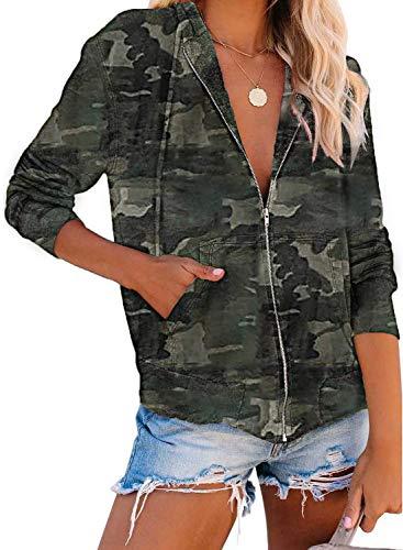 CORAFRITZ - Sudadera con capucha para mujer, diseño de camuflaje, con cremallera