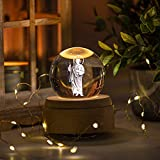 3D Crystal Ball Music Box Luxurious LED Projection Rotating Wood Base Rechargeable San Judas Tadeo, Virgin Mary for Adults and Kids Plays Spirited Away (San Judas (St. Jude))