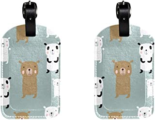 Panda And BearLeather Luggage Tags Suitcase Labels Bag Travel ID Bag Tag, 1 Pcs