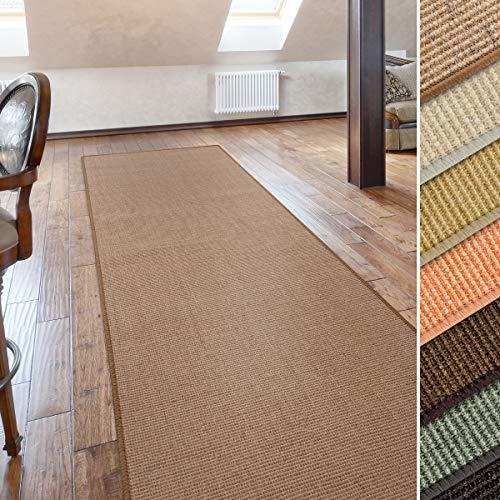 casa pura Sisal Teppich Läufer in zahlreichen Größen | Naturfaser | Qualitätsprodukt aus Deutschland | kombinierbar mit Stufenmatten | Kork (66x100 cm)