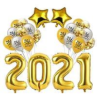 VALICLUD 1セット2021ハッピーニューイヤーバルーン2021ホイル番号バルーン2021クリスマスパーティーバルーンクリスマス大晦日パーティーの装飾(ゴールデン)