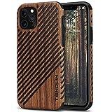 TENDLIN Kompatibel mit iPhone 11 Pro Hülle Holz & Leder Hybrid Handyhülle (Rotes Sandelholz)