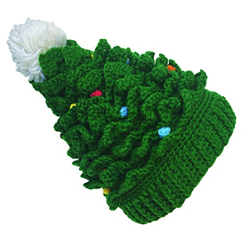 Kafeimali Baby Christmas Tree Knit Hat Green Red Crochet Beanie Reindeer Caps (Green)