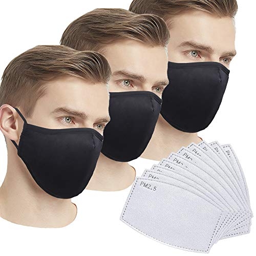 3 Pack 100% Cotton, Washable, Reusable Cloth Masks, for Cycling Camping Travel, anti-odor,Allergies, Smoke, Pollution, Ash.