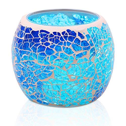Larcenciel Teelichthalter Teelichtaufsatz aus Glas Glasaufsatz für Kerzenleuchter - Kerzenständer - Adventskranz (Blau)