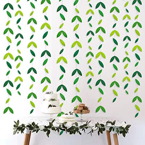 52 Feet Summer Leaf Theme Green Garland Party Decorations Theme Kit Paper Hanging Leaves Banner Streamer for Birthday Green Wedding Engagement Shower Showcase (4 Packs)