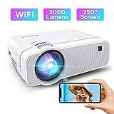 ABOX 5000 Lumen WiFi Proiettore Portatile, Mini Wireless Videoproiettore, Supporto Full HD 1080P/250''Display/Android/IOS/Window/HDMI/VGA/SD/AV/USB, Altoparlanti HIFI Per Home Cinema e Film All'aperto