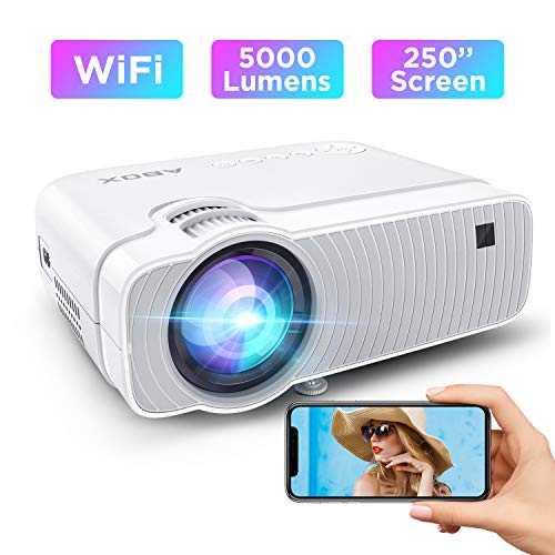 ABOX WiFi Beamer 5000 Lumen Unterstützt 1080P Full HD Bluetooth Wireless Projektor Max. 250'' Display Mini LED Dolby Sound kompatibel mit iPhone/Android Smart Phone/iPad/Mac/Laptop/PC