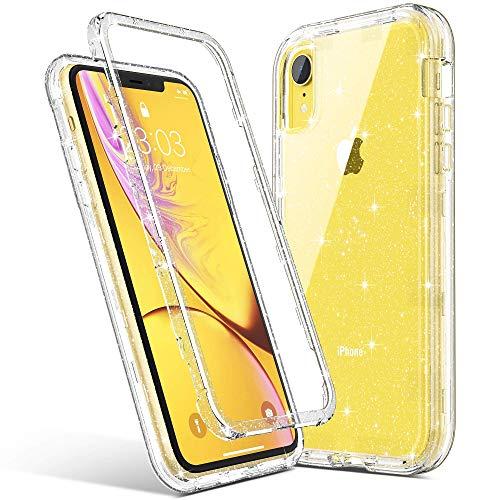 ARRISLIFE iPhone XR Estuche, Clear Glitter 3 in 1 Soft TPU Bumper + Hard PC Back Cubrir Anti-Scratch & Shockproof Transparent Estuche Protector for Apple iPhone XR 6.1 Inch (2018), Purple