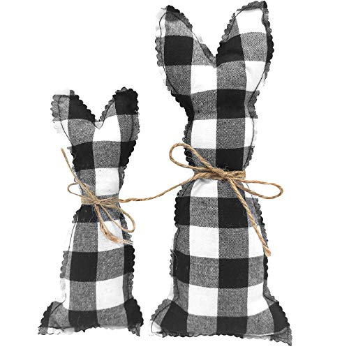 EBaokuup 2PCS Easter Farmhouse Rustic Bunnies, Stuffed Fabric Bunny Spring Decor, Farmhouse Pastel Bunny Decor for Easter Basket Bowl Fillers Rabbit Collections(Black)
