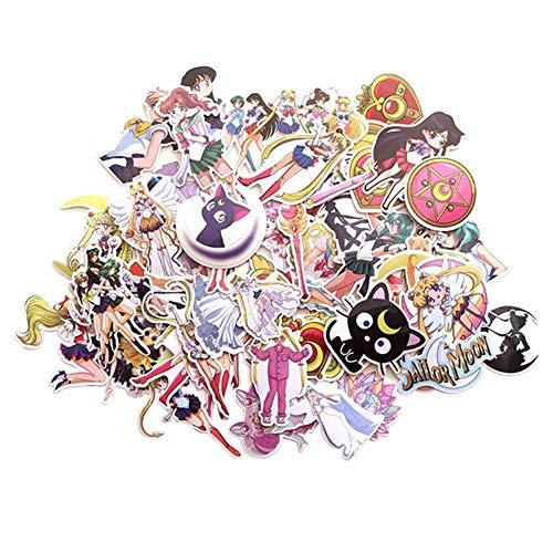 CAR-TOBBY 58pcs / Set Anime Sailor Moon Sticker Wasserfest Süße Vinyl Mädchen Anime Aufkleber Passend Für Laptops Wasserflasche Buch Skateboard Gitarre