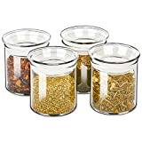 ZENS Glass Canister Set, Airtight Kitchen Canisters Jars of 4 with Glass Lids,10oz Fluid Ounce Empty Storage Jar Containers for Spice or Herbs