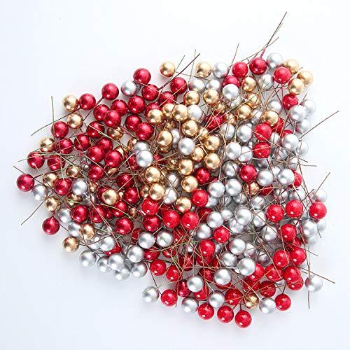 POCKETMAN Bacche di Agrifoglio Artificiali 300 Pezzi Multicolor Mini 10 mm Bacche finte Decorazioni per Decorazioni per Alberi di Natale Ghirlanda Decorazione per Feste