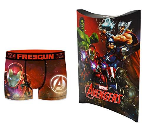 Marvel-Avengers Boxershorts mit Geschenkbeutel, offizielle Kollektion Freegun – Kinder Gr. 10-12 Jahre, mehrfarbig