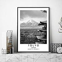東京コーディネートポスター日本風景壁アートパネル都市旅行帆布絵画インテリア黒白風景写真北欧版画リビング ルーム部屋モダン装飾画