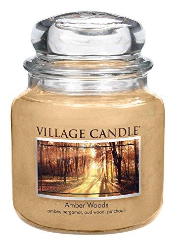 Village Candle Bernsteinholz Duftkerze im Glas, 454 g, beige, 9.7 x 9.5 cm