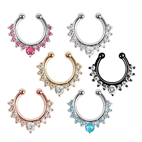 Aysekone 6 Pieces Per Pack Women Girls Fake Nose Rings Crystal Septum Faux Nose Rings Nose Ring Hoop Clip-on Body Non Piercing Jewelry