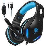 Stynice ゲーミングヘッドセット for PS4 / PS5 / PC/XboxOne/Laptop マイク付きヘッドホン - 高音質 重低音 ヘッドセット- 50mmドライバー 有線 ノイズキャンセル - LEDライト 付き 軽量 ヘッドホン (青い)