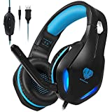 Stynice Cascos Gaming con Microfono Compatible con PS4 / PC/Xbox One/Laptop/Mac/Mobile - Auriculares para estéreo Juegos con Cable Jack de 3.5 mm y luz LED (Azul)