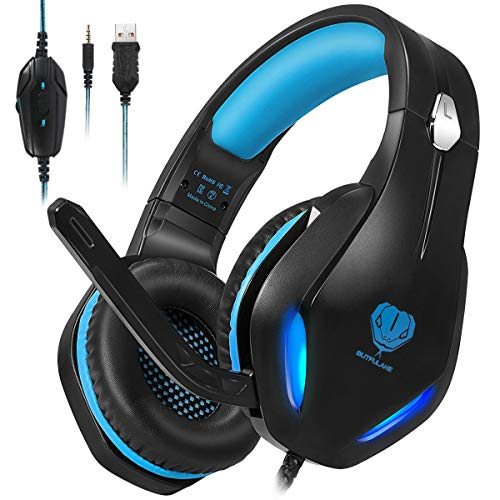 Stynice Cascos Gaming con Microfono Compatible con PS4 / PC/Xbox One/Nintendo Switch/Laptop/Mac/Mobile - Auriculares para estéreo Juegos con Cable Jack de 3.5 mm y luz LED (Azul)