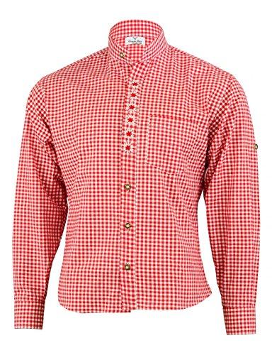 German Wear Trachtenhemd mit Edelweiß-Stickerei Stehkragen 100% Baumwolle, Größe:3XL, Farbe:Rot