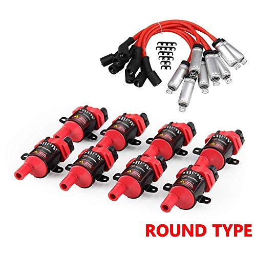 8 Pack D585 Ignition Coil and 748UU 8mm Spark Plug Wires Set for Chevrolet GMC CADILLAC 4.8L 5.3L 5.7L 6.0L fits C1251 UF262, Red
