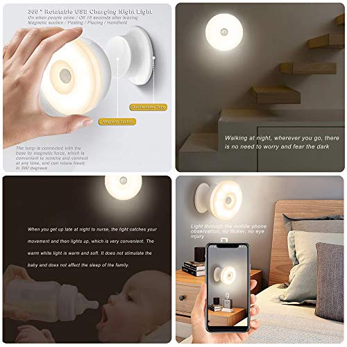 SPTECH USB Charging Motion Sensor Night Lights, 360 ° Rotating Mobile LED Stairs Light Closet Lights, Stick Anywhere You Need It, Wall Lights for Hallway Bathroom Bedroom Kitchen, 2Pack (Warm White)