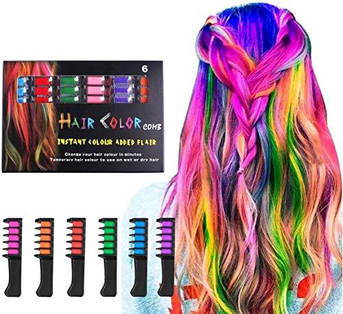 Haar Kreide Kamm 6 Farben temporäre Haarfärbemittel Marker Geschenke für Mädchen Kinder Erwachsene für Halloween Weihnachten Geburtstagsfeier, Cosplay