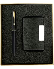 Parker Frontier Gold Trim Roller Ball Pen with Free Card Holder (Matte Black)