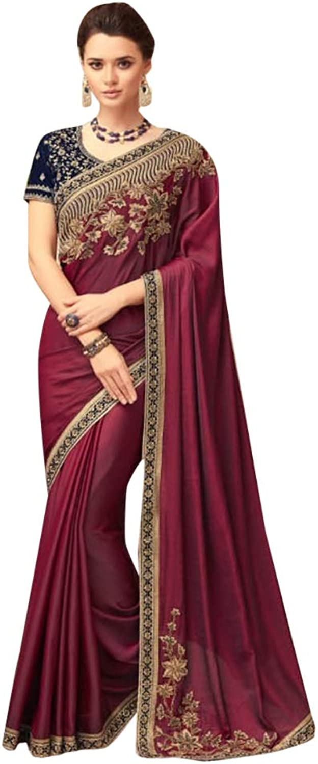 Stylish Designer Wine Satin Sari with Net Blouse for Women Evening Cocktail dress Indian Saree 7584
