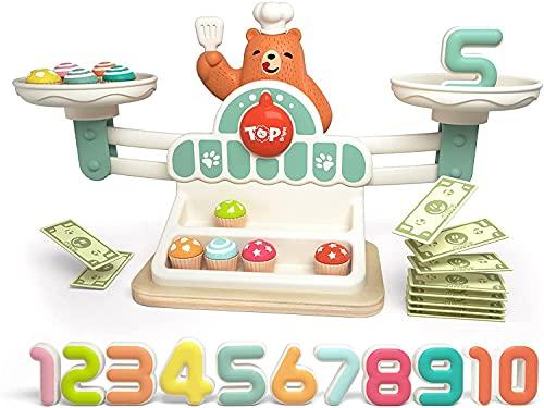 TOP BRIGHT Juego de Matemáticas y Lógica para Niños - Balanza con un Divertido Oso, Cupcakes y Monedas para Jugar a Las Compras - Juguete para Aprender a Comprar, Números y Habilidades Matemáticas