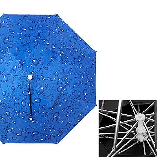ZAZAP-1 Sombrero de Paraguas con Varillas de Aleación de Aluminio, Sombrero de Paraguas de Pesca con Anillo de Cabeza Ajustable de PVC, Sombrero de Paraguas a Prueba de Viento con Protección UV