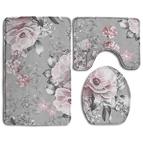 Tesdfk Seamless Pattern with Pink Flowers and Leaves On Gray Background Watercolor Floral Pattern Flower Bathroom Rug 3 Piece Bath Mat Set Contour Rug and Lid Cover