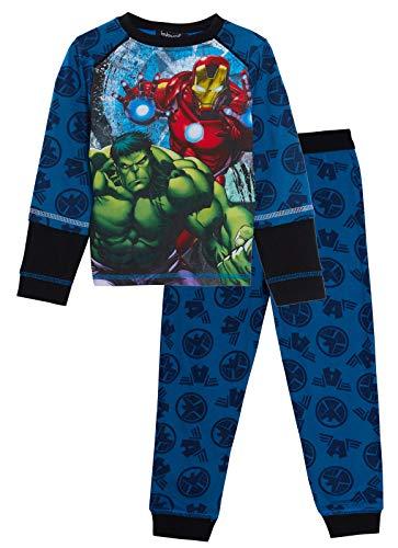 Marvel Avengers-Schlafanzug für Jungen, komplett bedruckt, Oberteil vorne und hinten, 2-teiliges Pyjama-Set Gr. 7-8 Jahre, blau