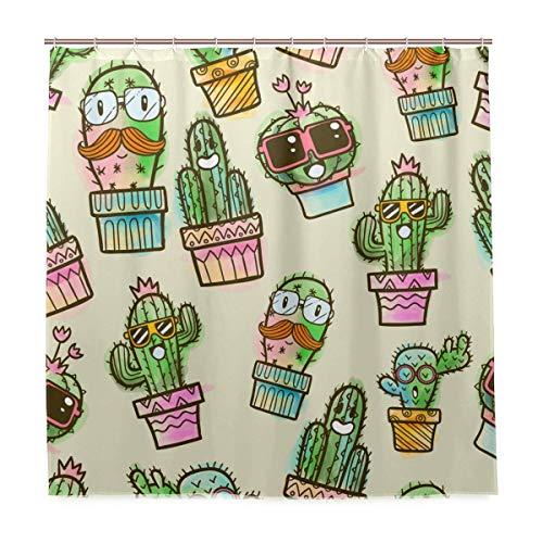 Waterdicht voor dagelijks gebruik zwart douchegordijn met haken badkamer set stof polyester 72x72 inch Cactus Succulent