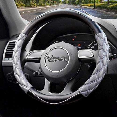Valleycomfy Steering Wheel Cover Pu Leather Universal 15 Inches, Pathwork Pattern, Breathable, Anti-Slip, Odorless (Red)