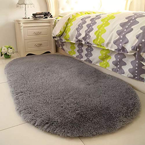 YJ.GWL High Pile Soft Shaggy Grey Area Rugs for Nursery Bedroom Floor Gray Baby Carpets Home Decor 2.6' X 5.3'