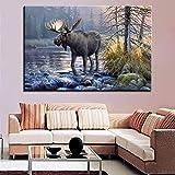 GJQFJBS Hd Print Leinwand Wohnzimmer Bild Wald Tier Fluss Landschaft Wandkunst...
