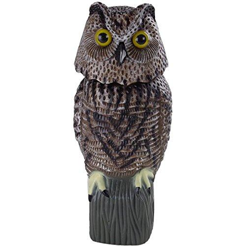 Figura decorativa de plástico con forma de búho. Dimensiones: 38x 16x 17cm. Búho/mochuelo espantapájaros con cabeza móvil