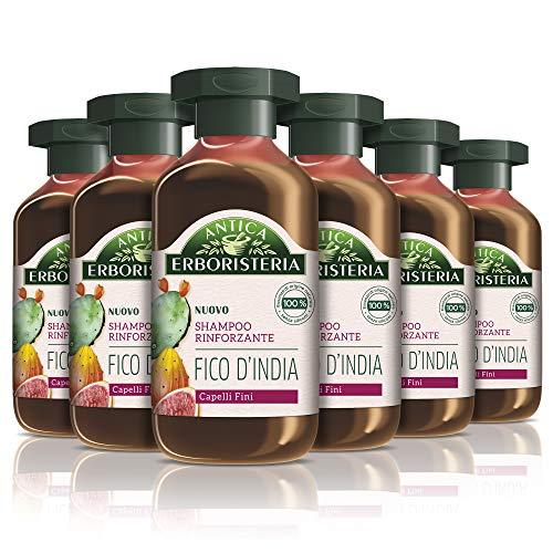Antica Erboristeria Shampoo Rinforzante Fico d India, Shampoo per Capelli Fini, con Ingredienti Naturali, 6 pezzi x 250 ml