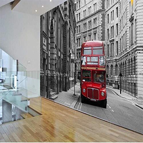 NIdezuiai Muurschildering aanpassen van 4D-behang, creatieve serie Red Londen bus grote poster afbeelding zijde muurschildering Hd afdrukken muurschildering voor woonkamer slaapkamer Home Decor 100in×144in 250cm(H)×360cm(W) zoals getoond
