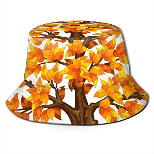 out Men Packable Bucket Hat Fall Tree Summer Breathable Fisherman Sun Cap Hunting Boonie Hat for Women Men Black