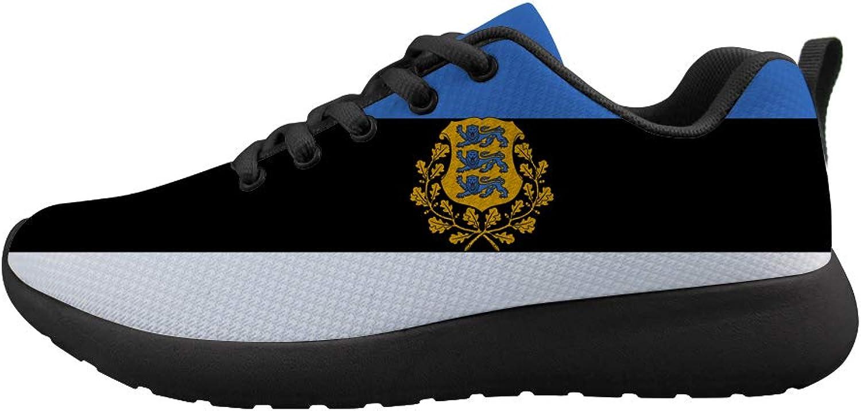 Owaheson Cushioning Sneaker Trail Running shoes Mens Womens Estonia Flag National Emblem